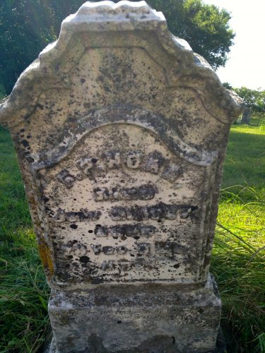 Tombstone of Frederick P. Horn in Sandhill Cemetery, Cedar County, Iowa, in August of 2015. Note deterioration of stone.