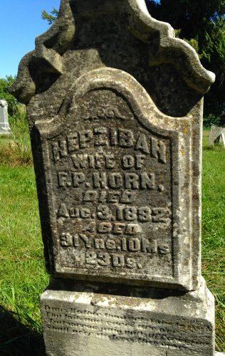Tombstone of Hepzibah (Clark) Horn in Sandhill Cemetery, Cedar County, Iowa, in September of 2015 after some restoration.