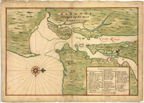 """Johannes Vingboons - Image of Vinckeboons map at Library of Congress ([1]). Joan Vinckeboons (Johannes Vingboon), """"Manatvs gelegen op de Noot [sic] Riuier"""", 1639, via Wikipedia, Public Domain."""