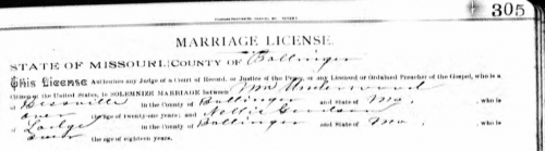 Marriage License for William F. Underwood and Nellie Goodson, Bollinger, MO. Missouri Marriage Records 1805-2002, page 305.