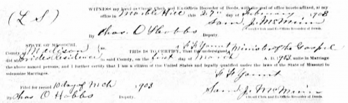 Marriage Record for William F. Underwood and Nellie Goodson, Bollinger, MO. Missouri Marriage Records 1805-2002, page 305.