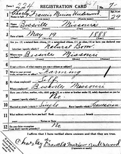 5 June 1917 draft registration of Charles F.M. Underwood, front of card.