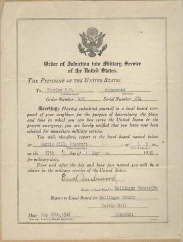 1918- Order of Induction - Charles Francis Underwood