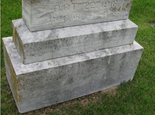 Charles Francis Marion Underwood- headstone in Old Trace Creek Cemetery, Glenallen, Bollinger, Missouri- closeup of base. Family photo.