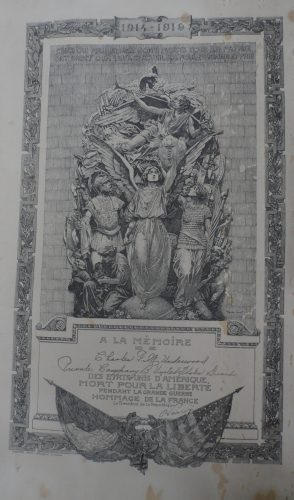 Certificate from France received by Elizabeth Adeline (Rickman) Underwood honoring her son Charles F. M. Underwood for his service and death in World War I. (Click to enlarge.)