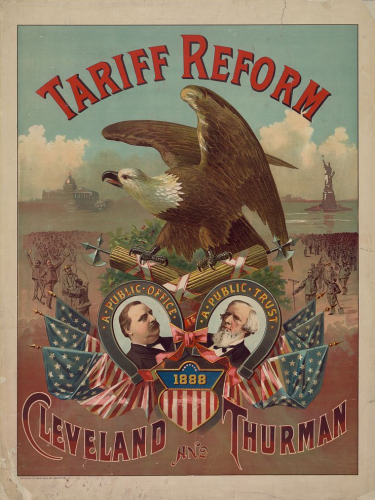 1888 Presidential Election- Tariff Reform poster for Grover Cleveland, via Wikipedia; public domain.