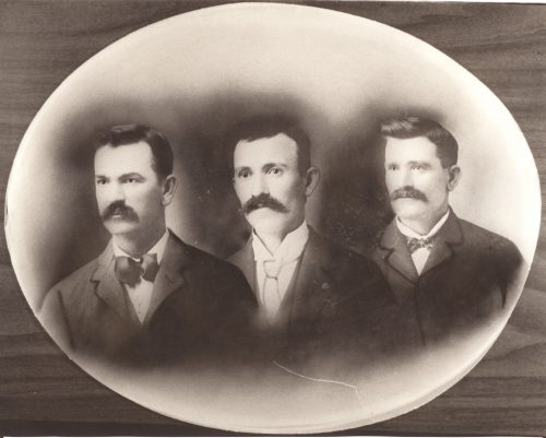 1904- The Three Brothers: William Edward Roberts on left, Jason Lee Roberts in center, George Anthony Roberts on right.